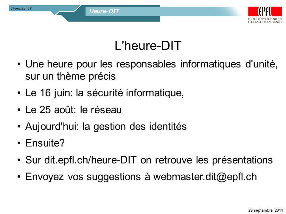 Heure-DIT 29 septembre 2011 L'heure-DIT Une heure pour les responsables informatiques d'unité, sur un thème précis Le 16 juin: la sécurité informatiqu