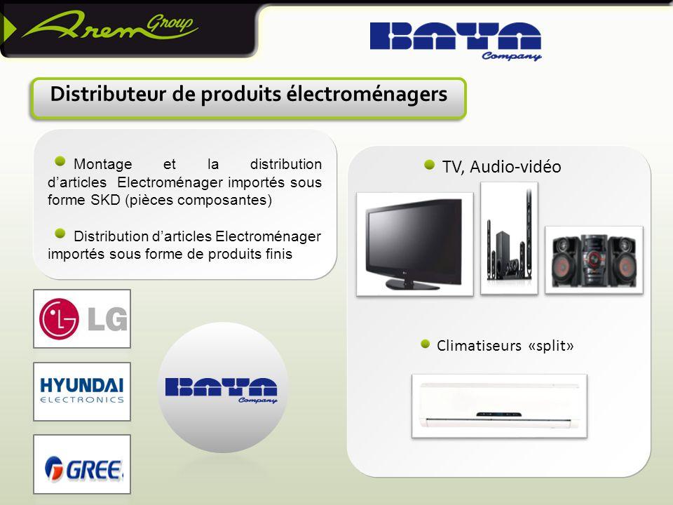 Climatiseurs «split» Distributeur de produits électroménagers TV, Audio-vidéo Montage et la distribution d'articles Electroménager importés sous forme SKD (pièces composantes) Distribution d'articles Electroménager importés sous forme de produits finis