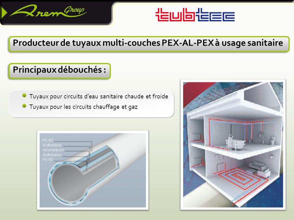 24 Producteur de tuyaux multi-couches PEX-AL-PEX à usage sanitaire Principaux débouchés : Tuyaux pour circuits d'eau sanitaire chaude et froide Tuyaux pour les circuits chauffage et gaz