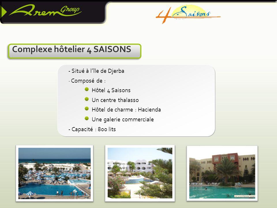 Complexe hôtelier 4 SAISONS - Situé à l'île de Djerba - Composé de : Hôtel 4 Saisons Un centre thalasso Hôtel de charme : Hacienda Une galerie commerciale - Capacité : 800 lits