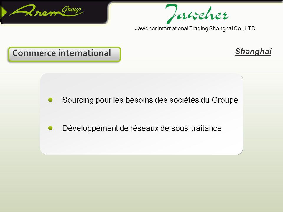 Sourcing pour les besoins des sociétés du Groupe Développement de réseaux de sous-traitance Shanghai Commerce international Jaweher International Trading Shanghai Co., LTD