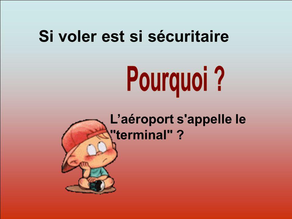 Dit-moi Pourquoi? Si voler est si sécuritaire L'aéroport s appelle le terminal ?
