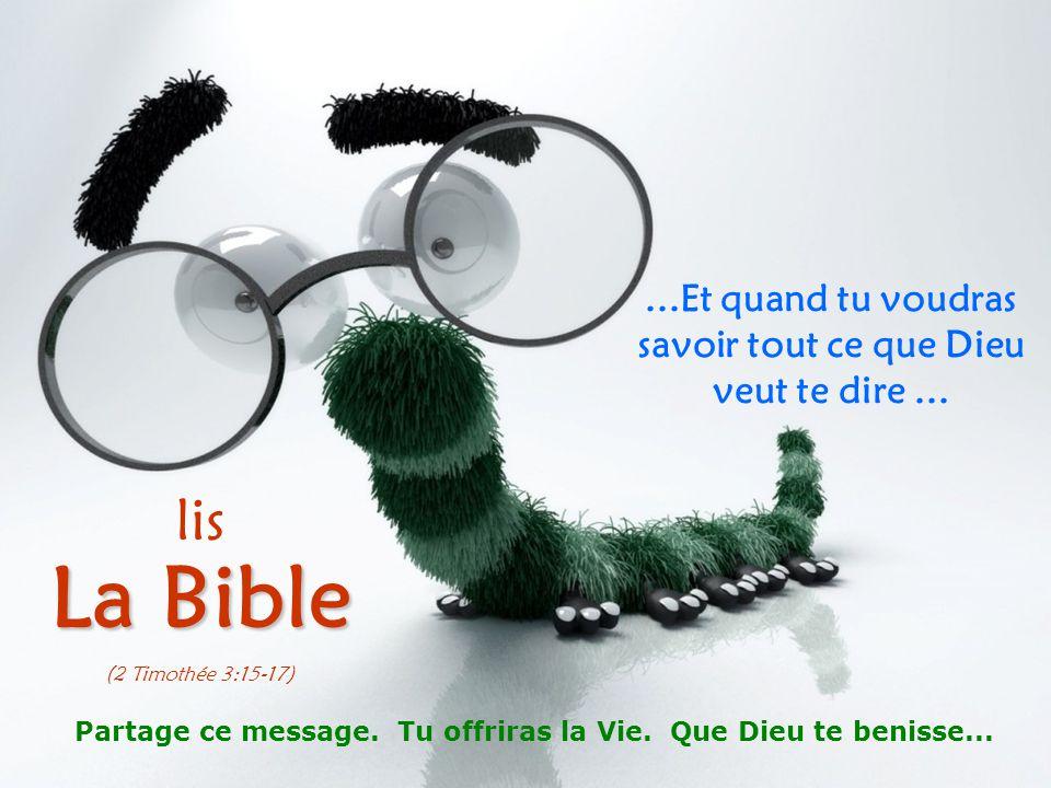 ...Et quand tu voudras savoir tout ce que Dieu veut te dire... lis La Bible (2 Timothée 3:15-17) Partage ce message. Tu offriras la Vie. Que Dieu te b