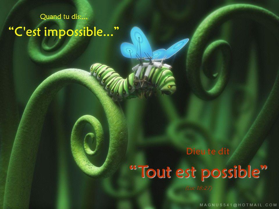 Quand tu dis:,,, C est impossible... Dieu te dit Tout est possible (Luc 18:27)