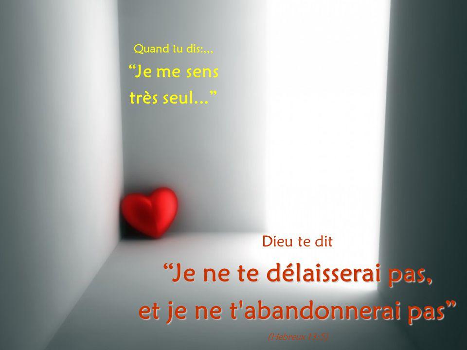 Quand tu dis:,,, Je me sens très seul... Dieu te dit Je ne te délaisserai pas, et je ne t abandonnerai pas (Hebreux 13:5)