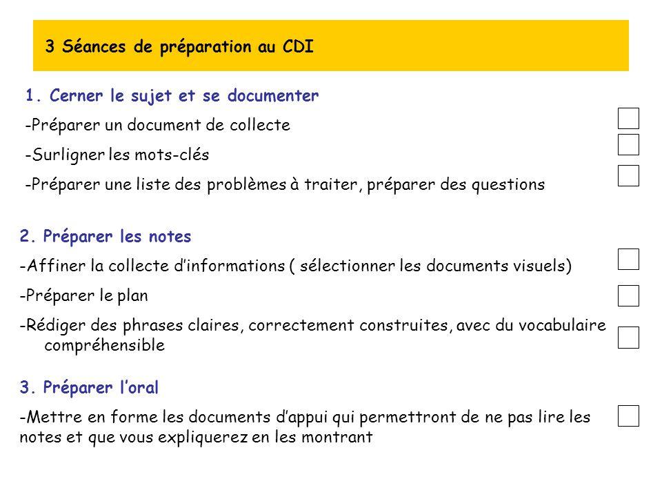 3 Séances de préparation au CDI 1.Cerner le sujet et se documenter -Préparer un document de collecte -Surligner les mots-clés -Préparer une liste des