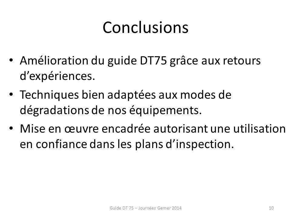 Conclusions Amélioration du guide DT75 grâce aux retours d'expériences.