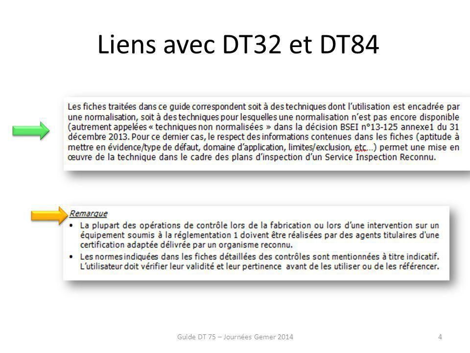 Liens avec DT32 et DT84 Guide DT 75 – Journées Gemer 20144