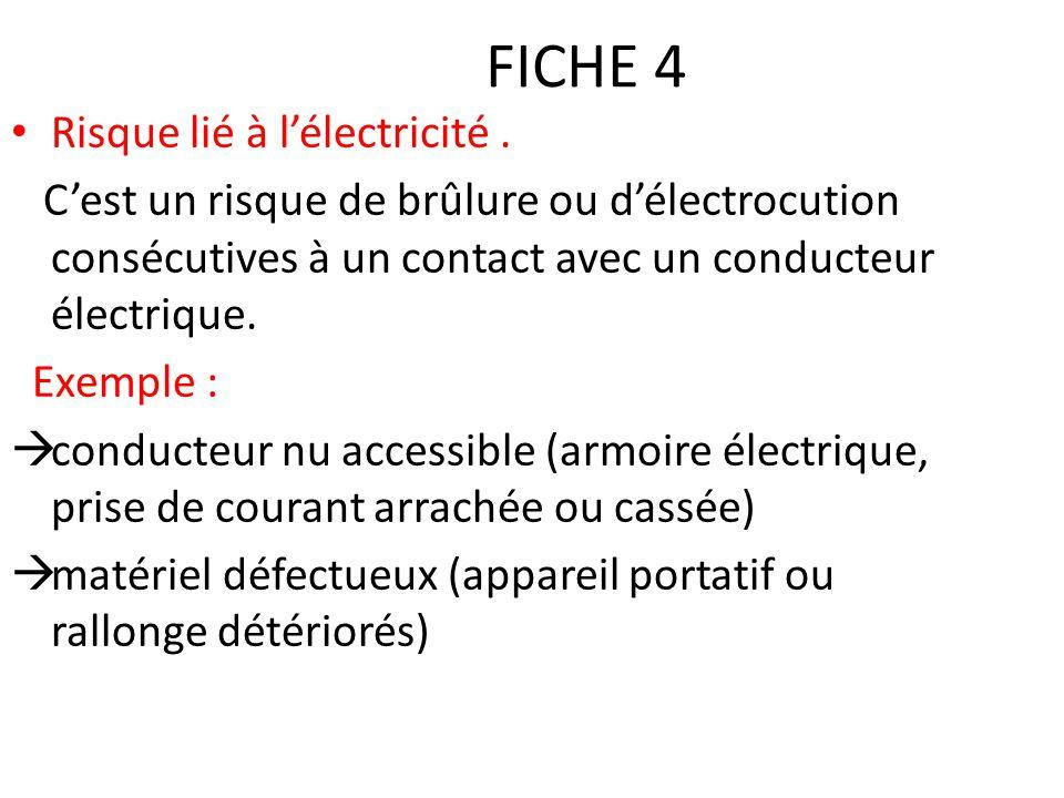 FICHE 4 Risque lié à l'électricité. C'est un risque de brûlure ou d'électrocution consécutives à un contact avec un conducteur électrique. Exemple : 