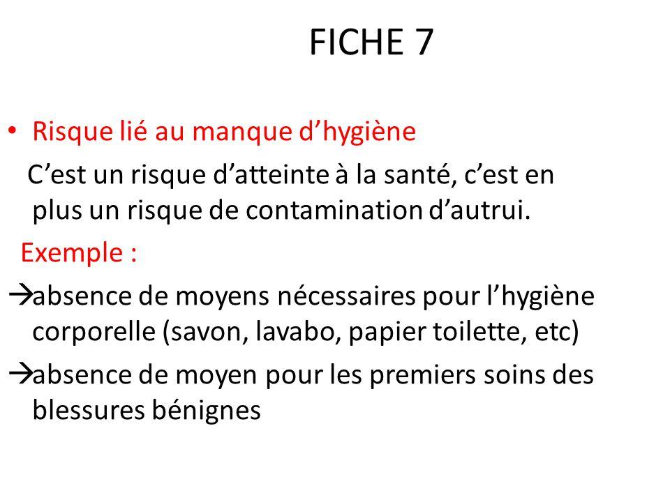 FICHE 7 Risque lié au manque d'hygiène C'est un risque d'atteinte à la santé, c'est en plus un risque de contamination d'autrui. Exemple :  absence d
