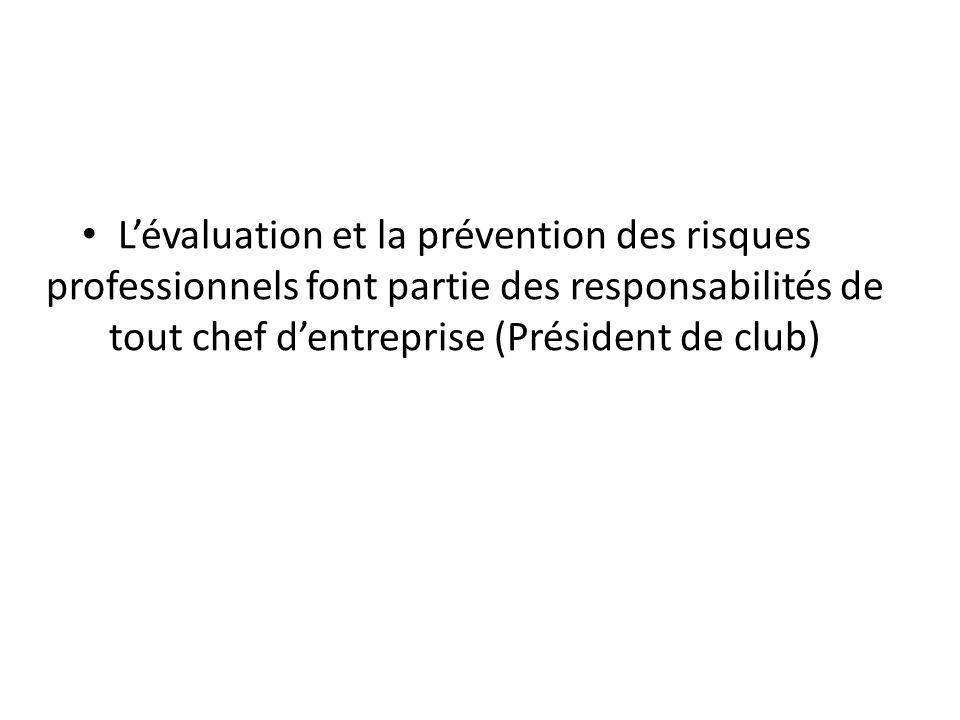 L'objet de cette formation est d'aider les responsables de club à organiser de manière simple une démarche d'évaluation des risques au sein des locaux du club.