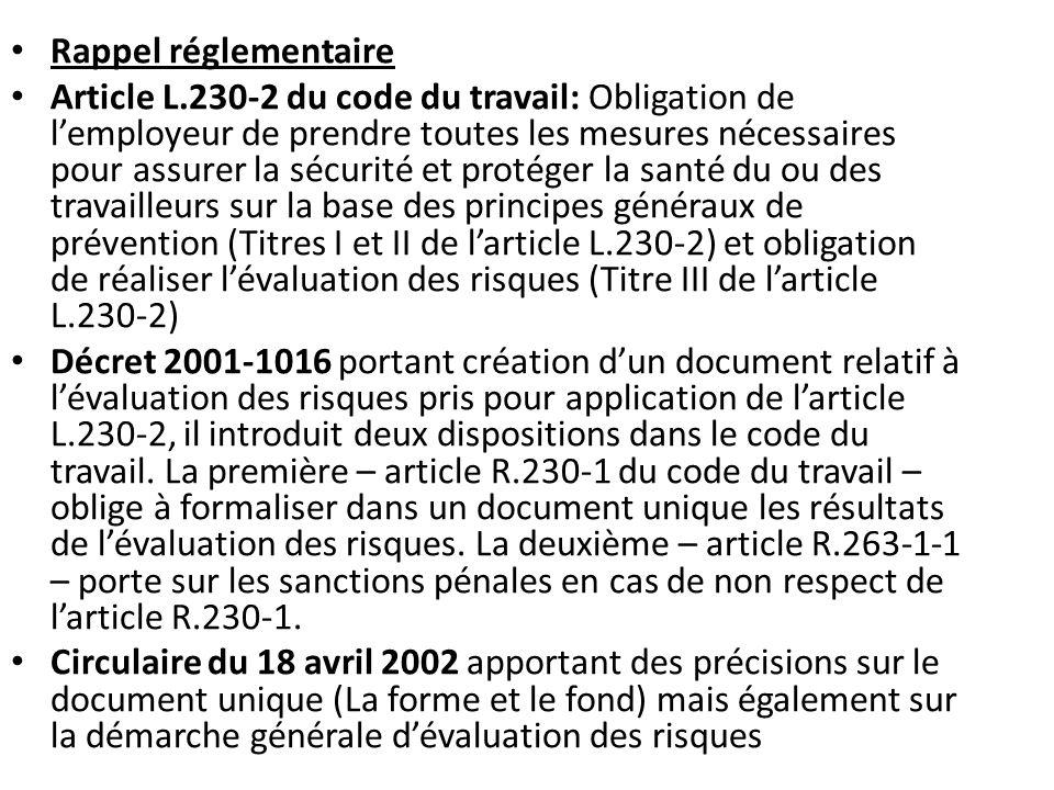Rappel réglementaire Article L.230-2 du code du travail: Obligation de l'employeur de prendre toutes les mesures nécessaires pour assurer la sécurité