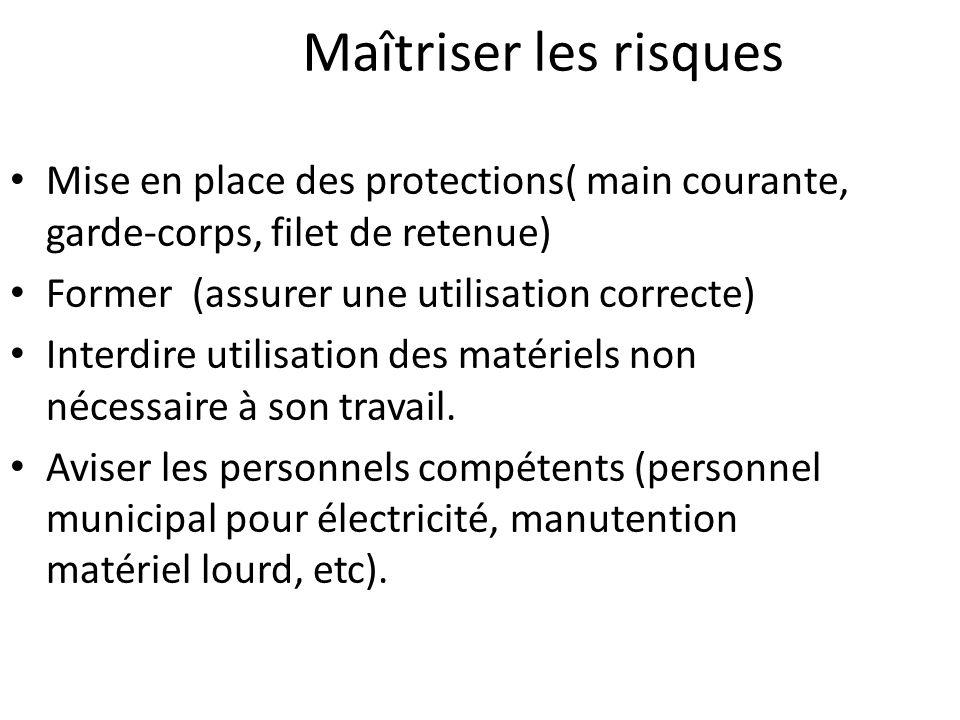 Maîtriser les risques Mise en place des protections( main courante, garde-corps, filet de retenue) Former (assurer une utilisation correcte) Interdire