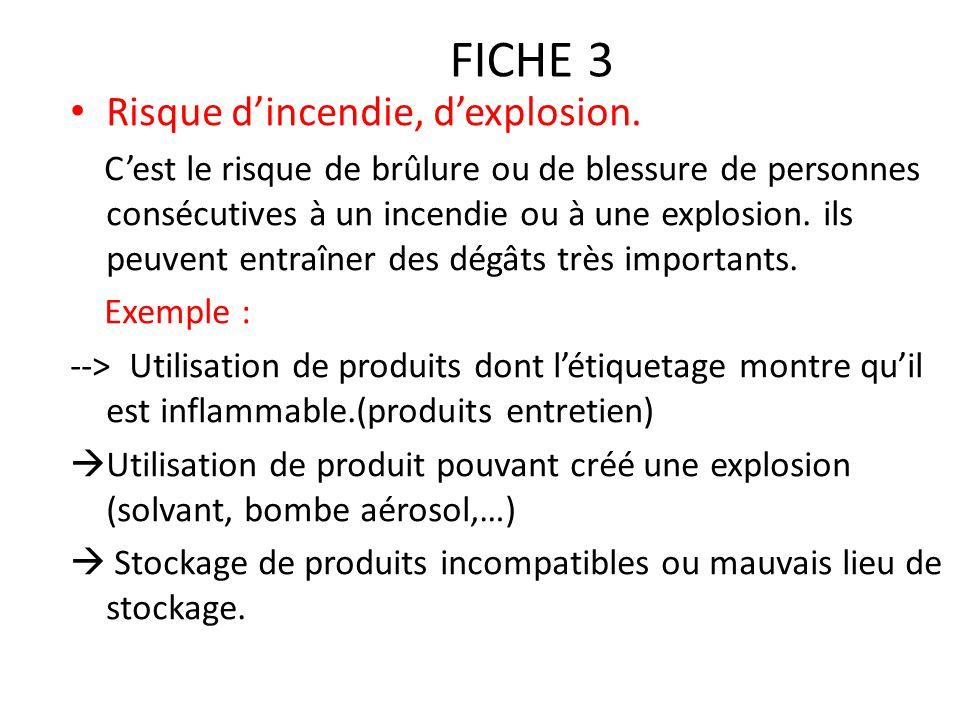 FICHE 3 Risque d'incendie, d'explosion. C'est le risque de brûlure ou de blessure de personnes consécutives à un incendie ou à une explosion. ils peuv