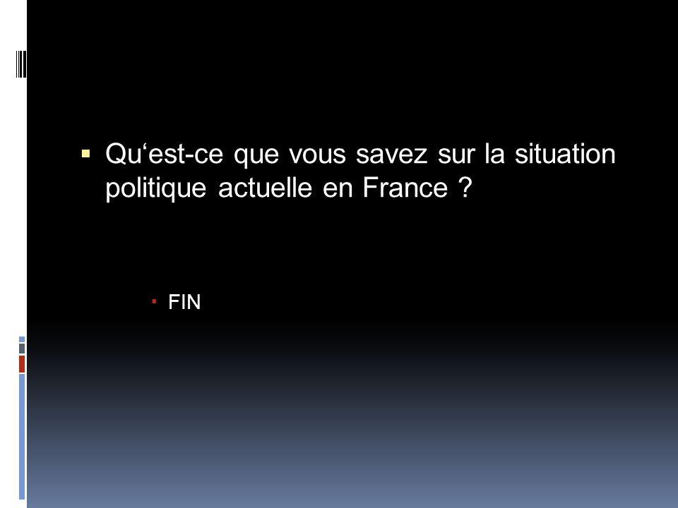  Qu'est-ce que vous savez sur la situation politique actuelle en France ?  FIN