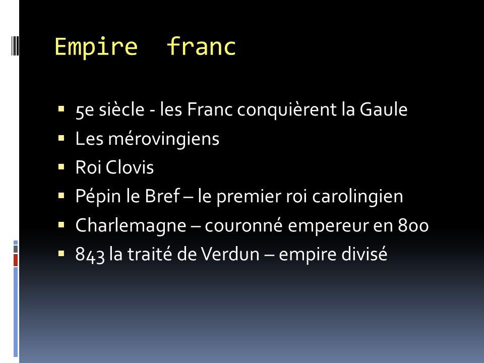 Empire franc  5e siècle - les Franc conquièrent la Gaule  Les mérovingiens  Roi Clovis  Pépin le Bref – le premier roi carolingien  Charlemagne –