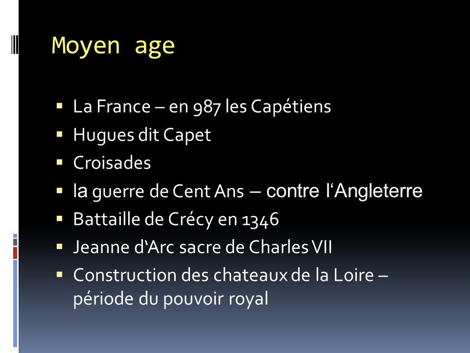Moyen age  La France – en 987 les Capétiens  Hugues dit Capet  Croisades  l a guerre de Cent Ans – contre l'Angleterre  Battaille de Crécy en 134