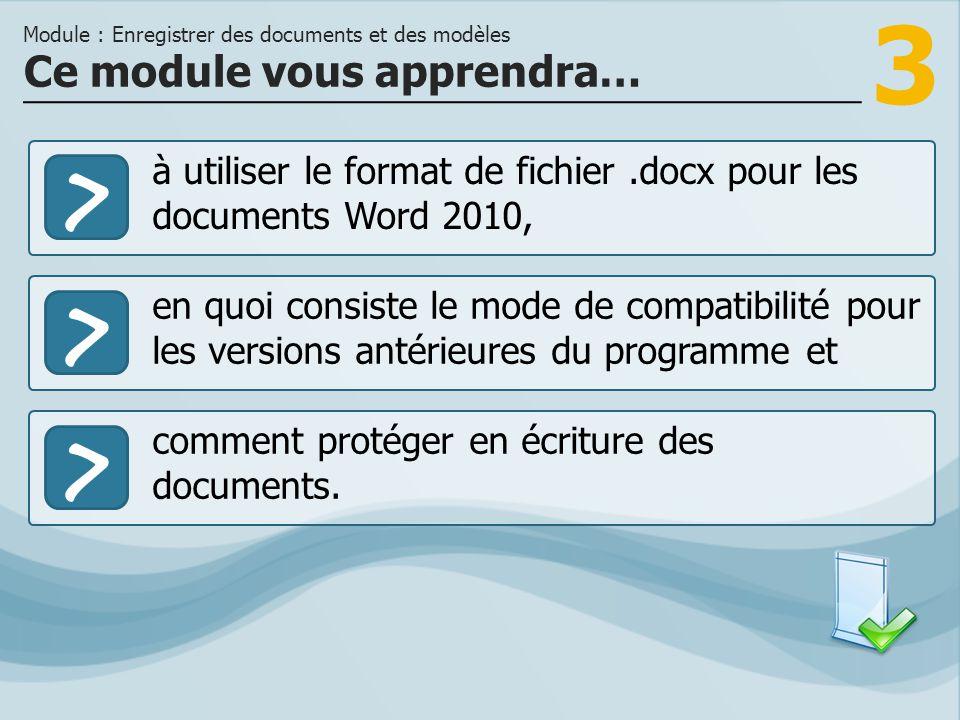 3 >> en quoi consiste le mode de compatibilité pour les versions antérieures du programme et comment protéger en écriture des documents. Ce module vou