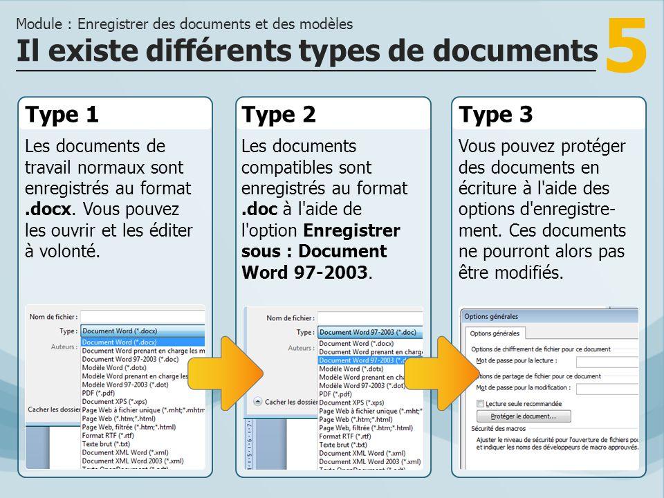 5 Type 1 Les documents de travail normaux sont enregistrés au format.docx. Vous pouvez les ouvrir et les éditer à volonté. Type 2Type 3 Les documents