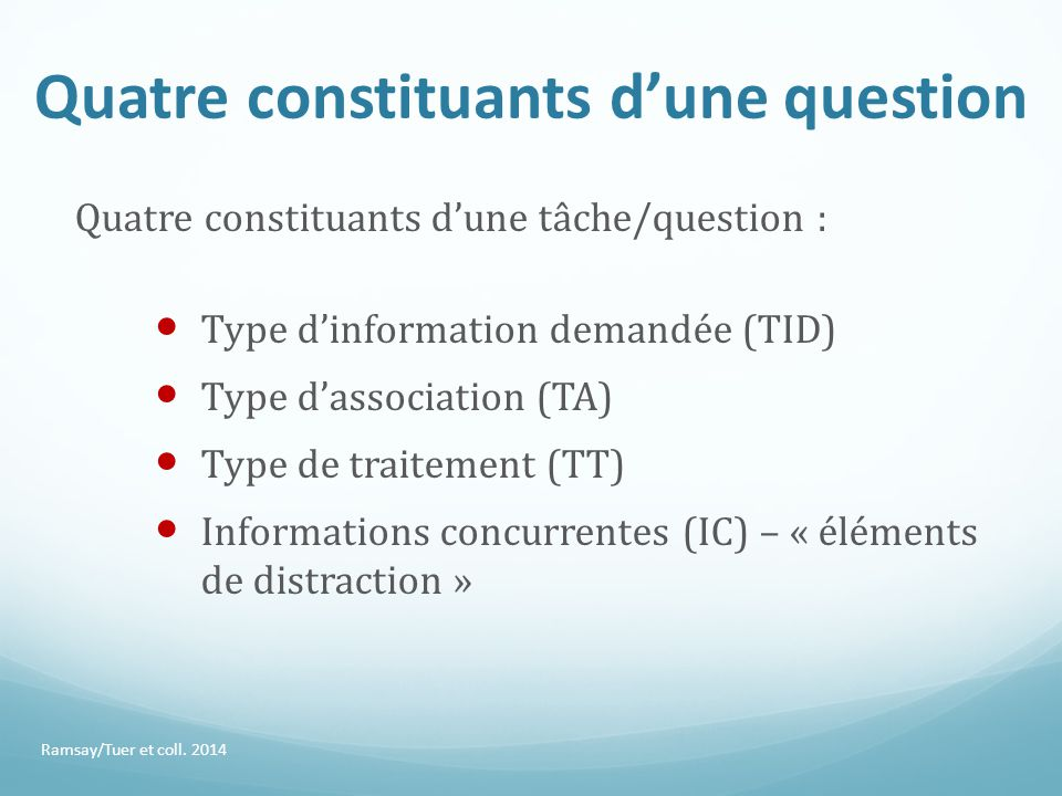 Quatre constituants d'une question Quatre constituants d'une tâche/question : Type d'information demandée (TID) Type d'association (TA) Type de traitement (TT) Informations concurrentes (IC) – « éléments de distraction » Ramsay/Tuer et coll.