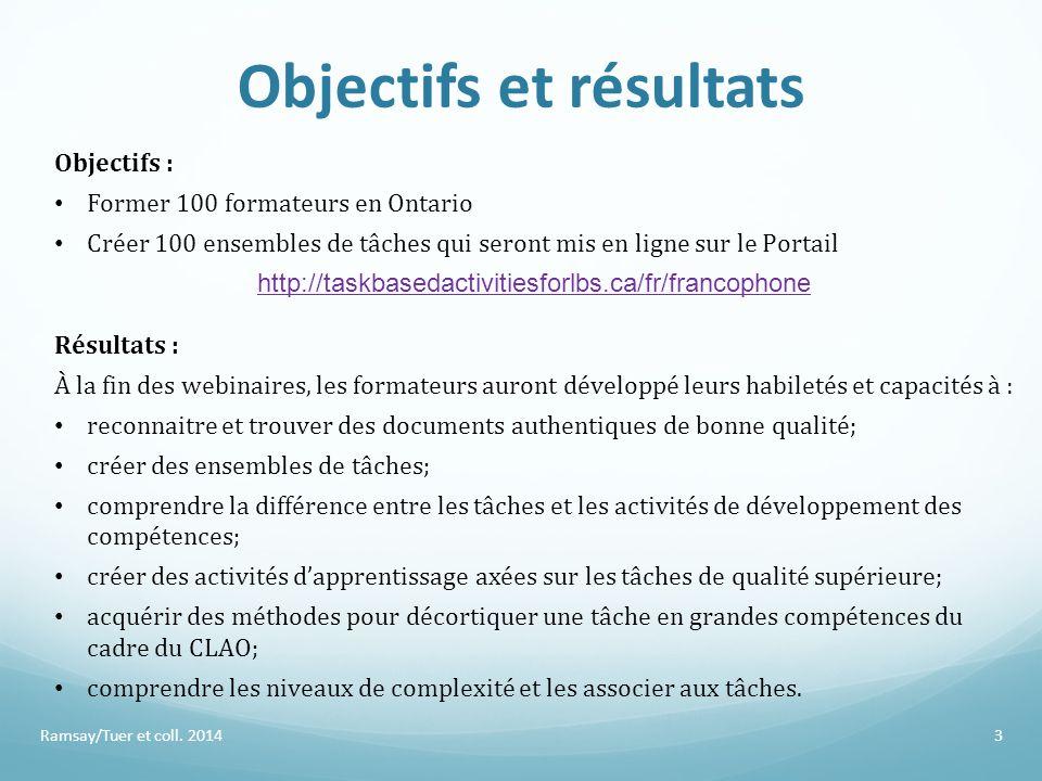 Objectifs et résultats Ramsay/Tuer et coll. 2014 Objectifs : Former 100 formateurs en Ontario Créer 100 ensembles de tâches qui seront mis en ligne su