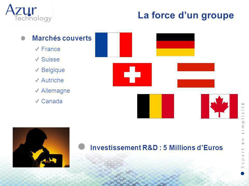 La force d'un groupe Marchés couverts France Suisse Belgique Autriche Allemagne Canada Investissement R&D : 5 Millions d'Euros