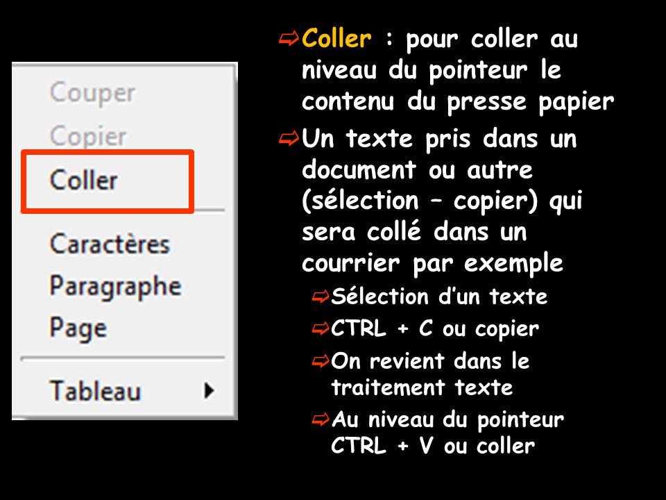  Coller : pour coller au niveau du pointeur le contenu du presse papier  Un texte pris dans un document ou autre (sélection – copier) qui sera collé