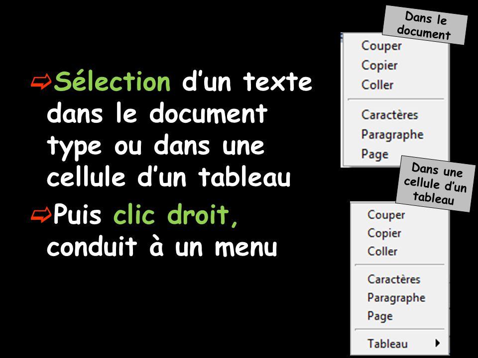  Sélection d'un texte dans le document type ou dans une cellule d'un tableau  Puis clic droit, conduit à un menu Dans le document Dans une cellule d