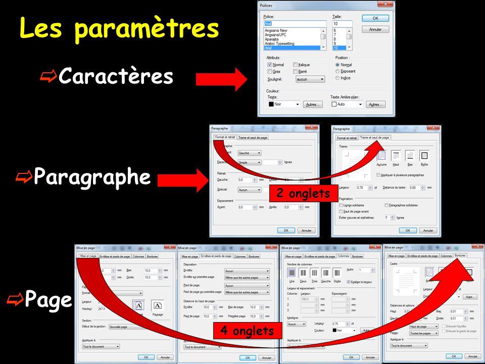 Les paramètres  Caractères  Paragraphe  Page 4 onglets 2 onglets