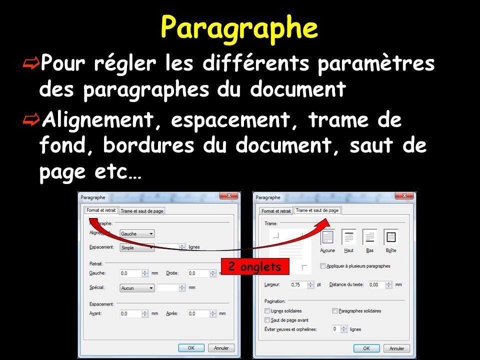  Pour régler les différents paramètres des paragraphes du document  Alignement, espacement, trame de fond, bordures du document, saut de page etc… 2