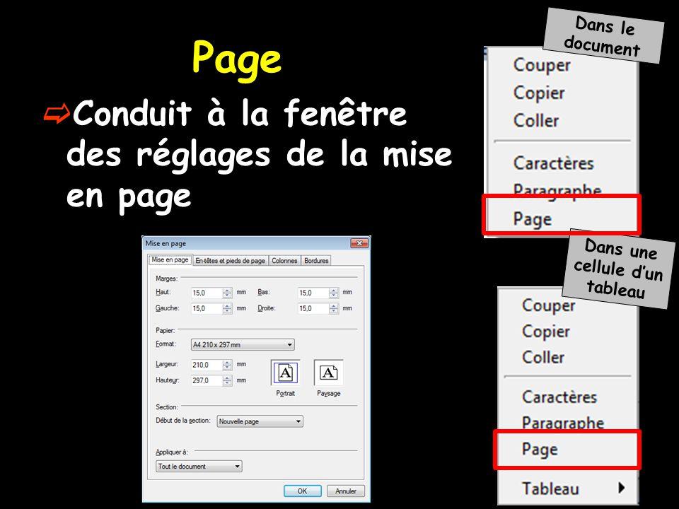  Conduit à la fenêtre des réglages de la mise en page Dans le document Dans une cellule d'un tableau Page