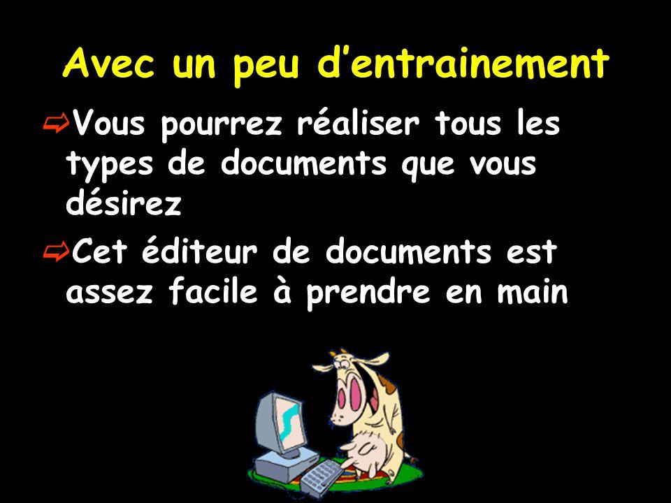Avec un peu d'entrainement  Vous pourrez réaliser tous les types de documents que vous désirez  Cet éditeur de documents est assez facile à prendre