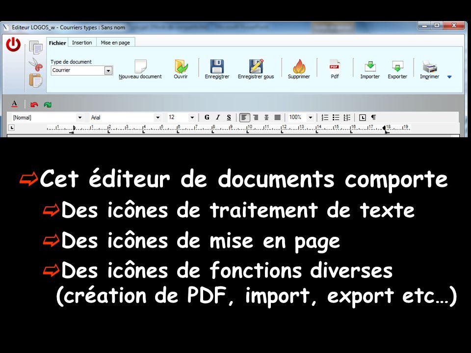  Cet éditeur de documents comporte  Des icônes de traitement de texte  Des icônes de mise en page  Des icônes de fonctions diverses (création de P
