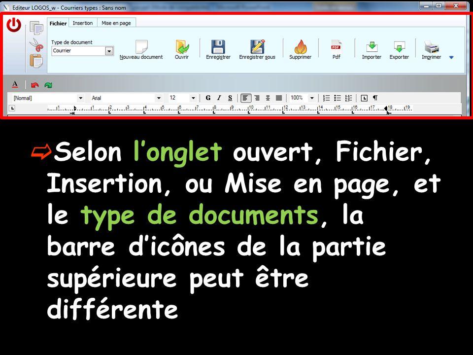  Selon l'onglet ouvert, Fichier, Insertion, ou Mise en page, et le type de documents, la barre d'icônes de la partie supérieure peut être différente