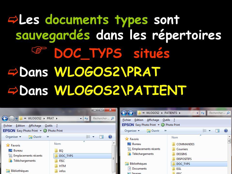  Les documents types sont sauvegardés dans les répertoires  DOC_TYPS situés  Dans WLOGOS2\PRAT  Dans WLOGOS2\PATIENT