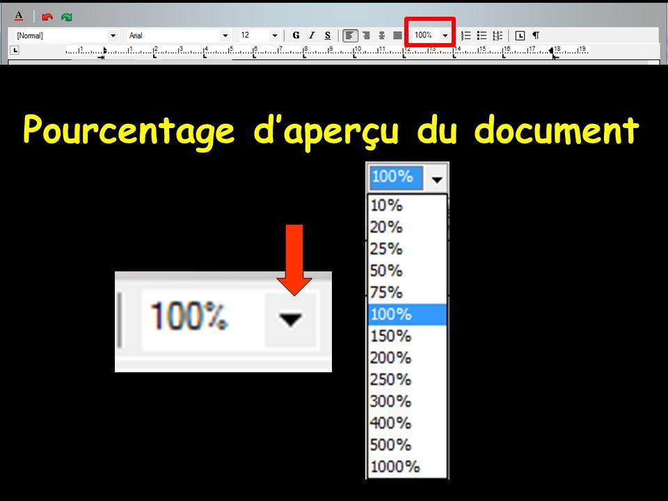 Pourcentage d'aperçu du document