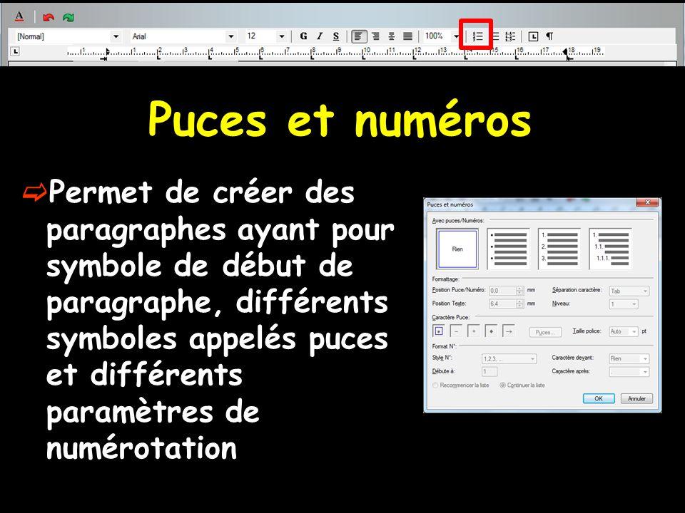 Puces et numéros  Permet de créer des paragraphes ayant pour symbole de début de paragraphe, différents symboles appelés puces et différents paramètr