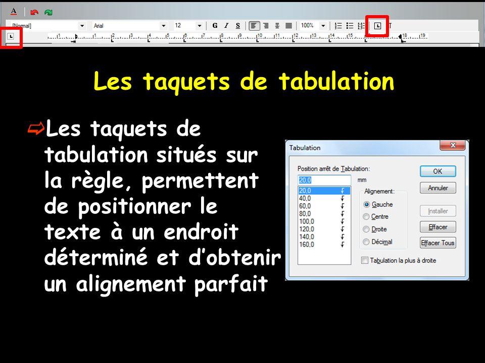 Les taquets de tabulation  Les taquets de tabulation situés sur la règle, permettent de positionner le texte à un endroit déterminé et d'obtenir un a