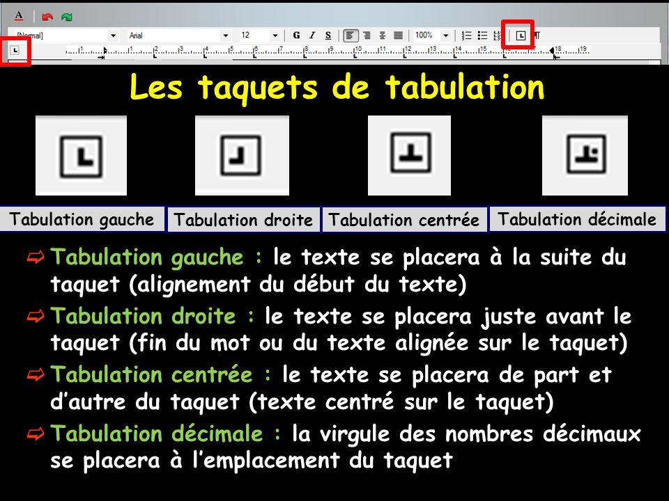 Les taquets de tabulation  Tabulation gauche : le texte se placera à la suite du taquet (alignement du début du texte)  Tabulation droite : le texte