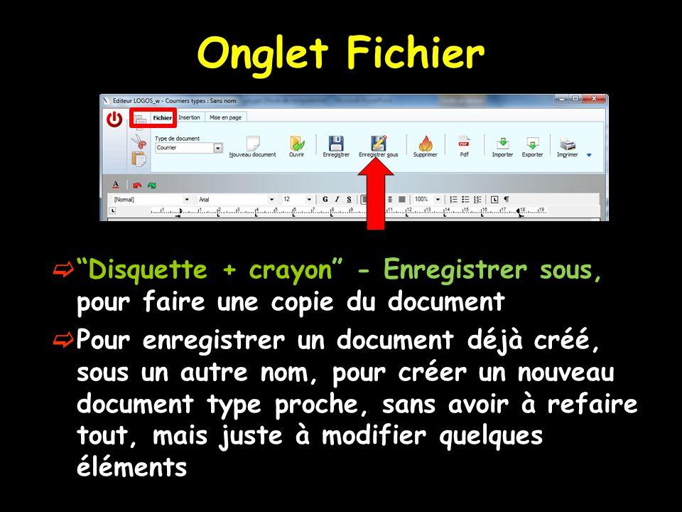 """Onglet Fichier  """"Disquette + crayon"""" - Enregistrer sous, pour faire une copie du document  Pour enregistrer un document déjà créé, sous un autre nom"""