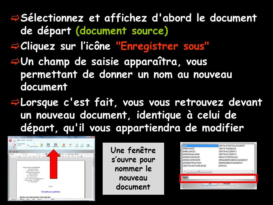  Sélectionnez et affichez d'abord le document de départ (document source)  Cliquez sur l'icône