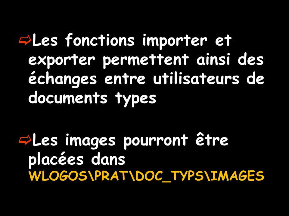  Les fonctions importer et exporter permettent ainsi des échanges entre utilisateurs de documents types  Les images pourront être placées dans WLOGO