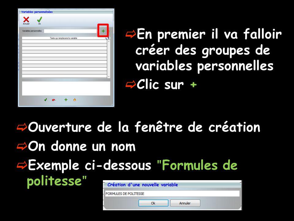  En premier il va falloir créer des groupes de variables personnelles  Clic sur +  Ouverture de la fenêtre de création  On donne un nom  Exemple