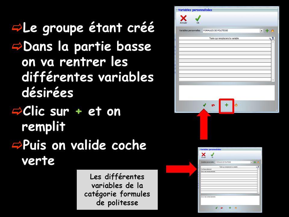 Le groupe étant créé  Dans la partie basse on va rentrer les différentes variables désirées  Clic sur + et on remplit  Puis on valide coche verte