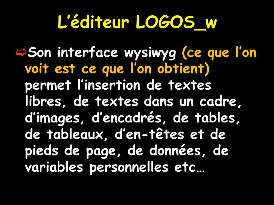 L'éditeur LOGOS_w  Son interface wysiwyg (ce que l'on voit est ce que l'on obtient) permet l'insertion de textes libres, de textes dans un cadre, d'i