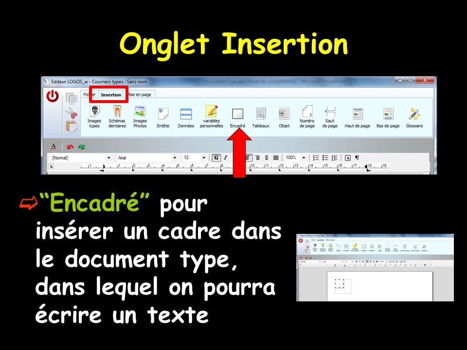 """Onglet Insertion  """"Encadré"""" pour insérer un cadre dans le document type, dans lequel on pourra écrire un texte"""