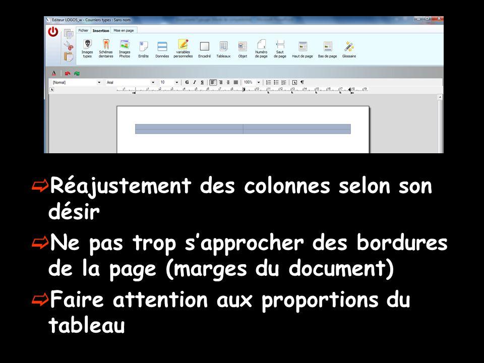  Réajustement des colonnes selon son désir  Ne pas trop s'approcher des bordures de la page (marges du document)  Faire attention aux proportions d