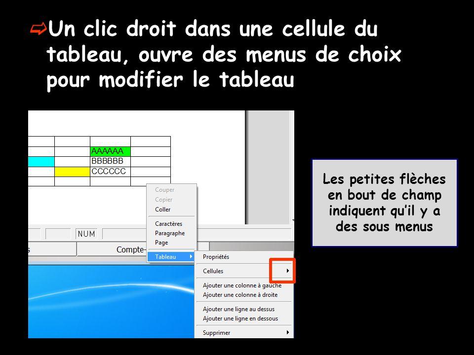  Un clic droit dans une cellule du tableau, ouvre des menus de choix pour modifier le tableau Les petites flèches en bout de champ indiquent qu'il y
