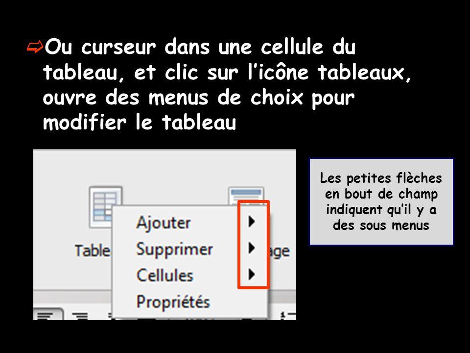  Ou curseur dans une cellule du tableau, et clic sur l'icône tableaux, ouvre des menus de choix pour modifier le tableau Les petites flèches en bout