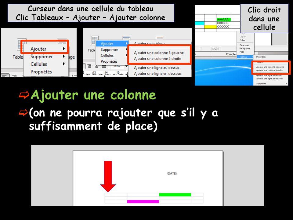  Ajouter une colonne  (on ne pourra rajouter que s'il y a suffisamment de place) Curseur dans une cellule du tableau Clic Tableaux – Ajouter – Ajout